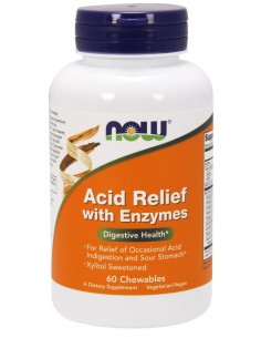 Acid Relief with Enzymes - 60 chewables by Now Foods