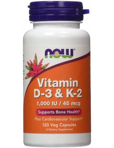 Vitamin D-3 & K-2 - 120vcaps by Now Foods